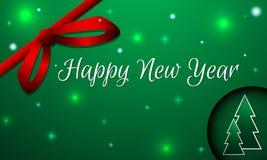 Tarjeta del Año Nuevo Nevado con el arco y los abetos Foto de archivo