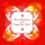 Tarjeta del Año Nuevo y de felicitación de la Navidad Imagen de archivo