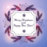 Tarjeta del Año Nuevo y de felicitación de la Navidad Fotografía de archivo