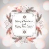 Tarjeta del Año Nuevo y de felicitación de la Navidad Fotos de archivo libres de regalías
