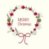 Tarjeta del acebo de Navidad Fotografía de archivo libre de regalías