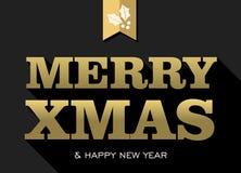 Tarjeta del acebo del texto del oro del Año Nuevo de Navidad de la Feliz Navidad Imagenes de archivo