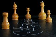 Tarjeta del ajedrez y del hopscotch Foto de archivo libre de regalías