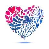 Tarjeta del amor con el ramo floral de la acuarela Ejemplo del día de tarjeta del día de San Valentín con la forma del corazón Fotografía de archivo