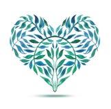 Tarjeta del amor con el ramo floral de la acuarela Ejemplo del vector del día de tarjeta del día de San Valentín con la forma del Foto de archivo