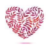 Tarjeta del amor con el ramo floral de la acuarela Ejemplo del vector del día de tarjeta del día de San Valentín con la forma del Fotografía de archivo libre de regalías