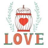 Tarjeta del amor con la jaula en guirnalda floral Foto de archivo libre de regalías
