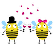 Tarjeta del amor con las abejas Foto de archivo