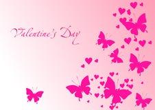 Tarjeta del amor con las mariposas stock de ilustración