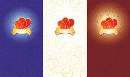 Tarjeta del amor con los corazones Imagen de archivo
