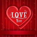 Tarjeta del amor con los corazones rojos Fotografía de archivo libre de regalías