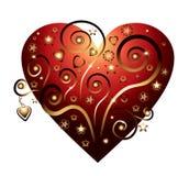 Tarjeta del amor con los ornamentos rojos del corazón y del oro Imagenes de archivo