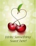 Tarjeta del amor de la cereza ilustración del vector