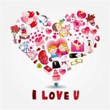 Tarjeta del amor de la historieta Imagen de archivo libre de regalías