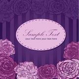 Tarjeta del amor de la invitación de la raya de la flor de la tarjeta del día de San Valentín Foto de archivo