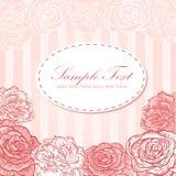Tarjeta del amor de la invitación de la raya de la flor de la tarjeta del día de San Valentín Fotos de archivo