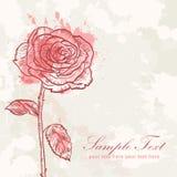 Tarjeta del amor de la invitación del grunge de la flor de la tarjeta del día de San Valentín Imágenes de archivo libres de regalías