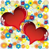 Tarjeta del amor de la tarjeta del día de San Valentín con el corazón de flores Imagenes de archivo