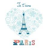 Tarjeta del amor del concepto con la torre Eiffel y floral Imágenes de archivo libres de regalías
