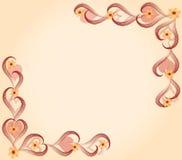 Tarjeta del amor del corazón y de las flores Imagen de archivo