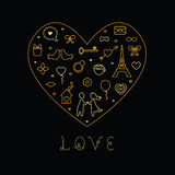 Tarjeta del amor del día de tarjeta del día de San Valentín Foto de archivo