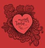 Tarjeta del amor en estilo del garabato Foto de archivo libre de regalías