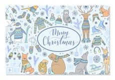 Tarjeta del animal de la Navidad stock de ilustración