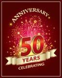 Tarjeta del aniversario 50 años Fotografía de archivo libre de regalías