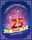 Tarjeta del aniversario 25 años stock de ilustración