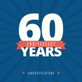 tarjeta del aniversario de 60 años, plantilla del cartel Imagen de archivo