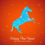 Tarjeta del Año Nuevo del caballo hecha de copos de nieve Imágenes de archivo libres de regalías