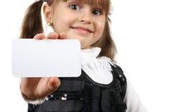 Tarjeta del asimiento de la muchacha del niño Fotografía de archivo