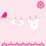 Tarjeta del aviso de la llegada del bebé Fotografía de archivo