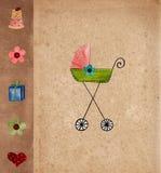 Tarjeta del aviso de la llegada del bebé Imagen de archivo