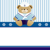 Tarjeta del aviso de la llegada del bebé del marinero Foto de archivo libre de regalías
