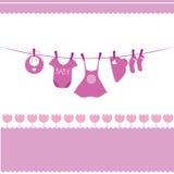 Tarjeta del aviso de la llegada del bebé Foto de archivo libre de regalías