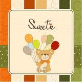 Tarjeta del aviso del bebé con el oso de peluche Fotos de archivo