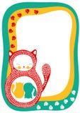 Tarjeta del aviso del embarazo con los gatos gemelos Fotos de archivo