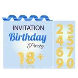 Tarjeta del azul del muchacho del número de la invitación Fotografía de archivo libre de regalías