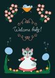 Tarjeta del bebé con el gatito Imagen de archivo libre de regalías