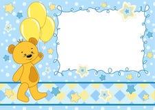 Tarjeta del bebé con el oso de peluche. Fotos de archivo libres de regalías