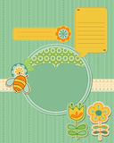 Tarjeta del bebé con la abeja y las flores Fotos de archivo libres de regalías