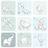 Tarjeta del bebé con los animales Imágenes de archivo libres de regalías