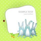 Tarjeta del bebé del vector con los conejos de la historieta Imagen de archivo libre de regalías