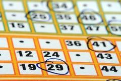 Tarjeta del bingo Foto de archivo
