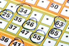 Tarjeta del bingo Fotografía de archivo