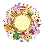 Tarjeta del círculo con las tortas y los animales Foto de archivo libre de regalías