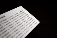 Tarjeta del código de seguridad de la batería Fotografía de archivo libre de regalías