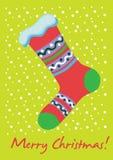 Tarjeta del calcetín de la Navidad Imágenes de archivo libres de regalías