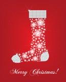 Tarjeta del calcetín de la Navidad Imagen de archivo